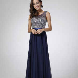 Jeweled Long A-Line Evening Dress CDCJ90